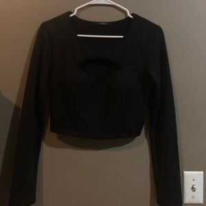 Never worn! F21 Black cutout/Crop Longsleeve Top